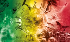 An artistic impression of a virus in the centre, surrounded by elements relating to the COVID-19 pandemic