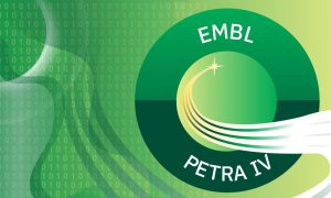 The logo of EMBL at PETRA IV is located on the right side of the image. It is a green circle with a curved line in the middle, which symbolises the curve of the synchrotron. The background behind the logo consists of abstract green shapes and multiple 0 and 1 digits.