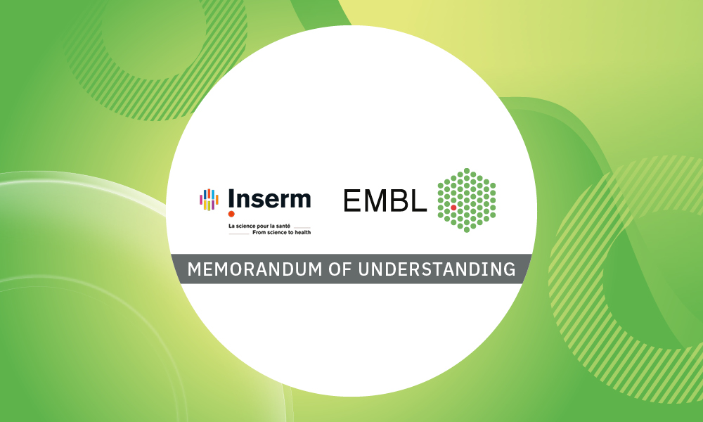The image shows Inserm and EMBL logos and illustrates the memorandum of understanding signed between both institutions.
