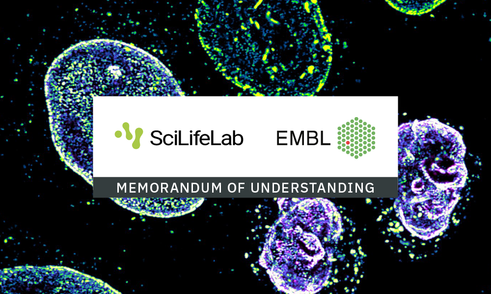 Logos of EMBL and SciLifeLab on a white background, overlaid on a fluorescence microscopy image of cells.