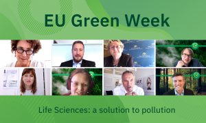 8 headshots of representatives from science, industry and government are displayed against a green background for EU Green Week