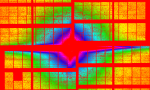 Dots of various colour arranged in rectangles. Concentric rings of different colour indicate different distances from the centre of the image.