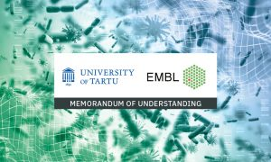 """Logos of University of Tartu and EMBL with text: """"memorandum of understanding"""". Illustrations of microorganisms in the background."""
