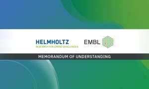 Logos of EMBL and Helmholtz Association on white background, over a green-and-blue pattern in the background.