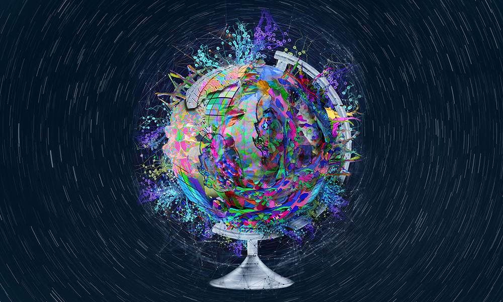 Illustration of a globe with colourful shapes and symbols superimposed.