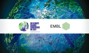 Visual showing a gloabal netwrok and COP26 and EMBL logos
