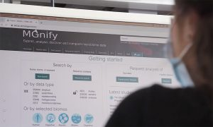 Photo of researcher using MGnify database