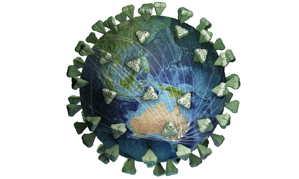 SARS-CoV-2 and planet Earth are merged together in this illustration